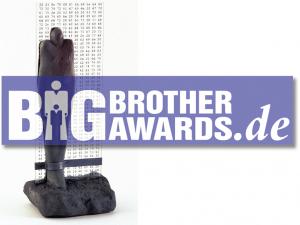Statue und Logo der BigBrotherAwards
